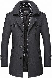 Volwassan Winter Warm Wool Coat Mens Trench Coat Long Business Woolen Jacket Casual Quilted Jacket Scarf Peacoat Overcoat