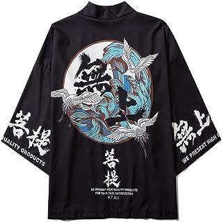 FLY FLU Haori Cloak Abrigo , Kimono Japonés Cardigan Hombres Verano Nuevo Haori Kimonos Karate Streetwear Camisa Kimono Japones Hombres Haori Yukata,Black-USS/TagM