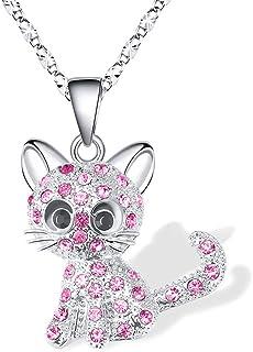 Cadeaux Amoureux de Chat Fille Loved Collier 18 2,4 Pouces Cha/îne Cheerslife Kitty Cat Pendentif Collier Bijoux pour Femmes Filles Enfants