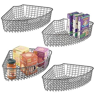 mDesign Kitchen Cabinet Lazy Susan Storage Basket, 1/4 Wedge, 4 Pack by