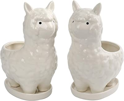 Tebery 2 Pack Cute Alpaca Succulent Planter Pot with Drainage Tray, White Ceramic Cactus Flower Pot Bonsai Holder for Indoor Plants