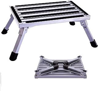Idealchoice Aluminum Folding Platform Steps,Portable RV Step Stool, Folding Platform Stools Portable Ladder for Trailer,Vehicle