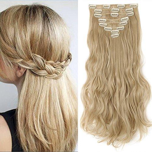 Clip in Extensions wie Echthaar Haarteile 8 Tresssen günstig komplette Haarverlängerung Gewellt 17