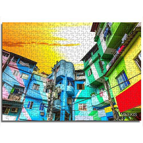 yuhho Puzzle Set 1000 Stück bemalte Gebäude in den Slums von Rio de Janeiro, Brasilien Hochauflösendes Spielzeug für Erwachsene und Kinder 26x38