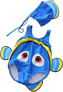 子供用の水着 少年少女のワンピース水着 コウモリの水着 (色 : 青, サイズ : XL)