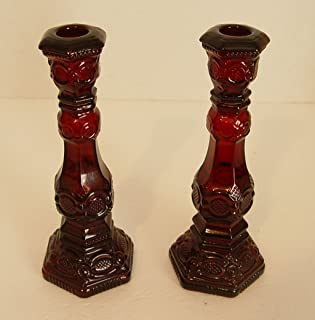 Vintage Ruby Red Cape Cod 1876 Avon Pair of Candlesticks (Set of 2)