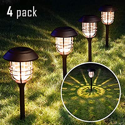 Solpex 4 Pack Solar Pathway Lights, Glass Metal Waterproof Solar Lights Outdoor, Warm White Solar Garden Lights for Yard, Path, Landscape and Walkway