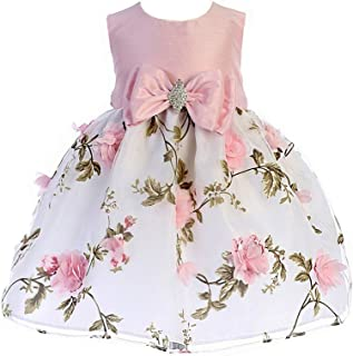 4a0758cdad4 Crayon Kids Baby Girls Pink Floral Print Easter Flower Girl Dress 6-24M