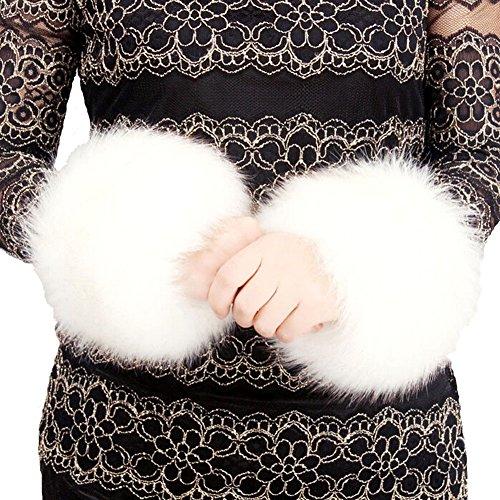 SwirlColor Pulswärmer Fell Manschetten Warmers Handgelenk Handschuhe Frauen, weiche Kunstpelz Handgelenk Bands Dekor Stretchy Pelz Handgelenk Ring Arm Warm für den Winter Weiß