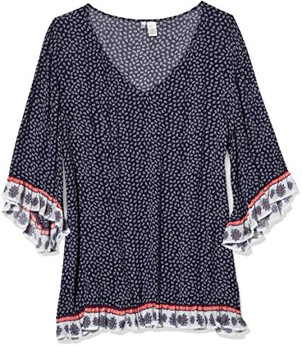 Anne Cole Damen Flounce Tunic Cover Up Dress Bademodeüberzug, Take It Orange Leaf It Navy, 44/46
