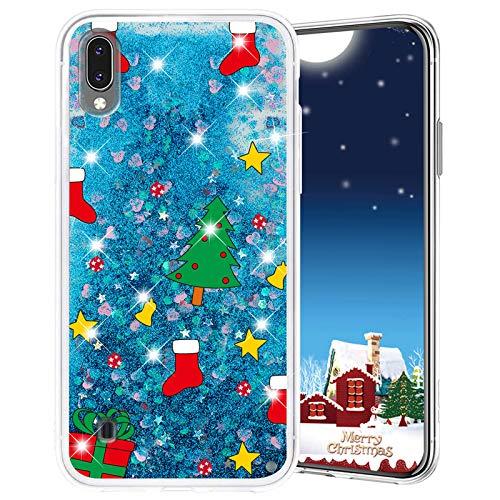 Misstars Weihnachten Handyhülle für Galaxy M10/A10, 3D Kreativ Glitzer Flüssig Transparent Weich Silikon TPU Bumper mit Weihnachtsbaum Muster Design Anti-kratzt Schutzhülle für Samsung Galaxy M10/A10