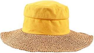 DIEBELLAU Women's Hat Holiday Seaside Travel Cloth Top Hat Wild Visor Foldable Portable Cap (Color : Yellow, Size : XL)