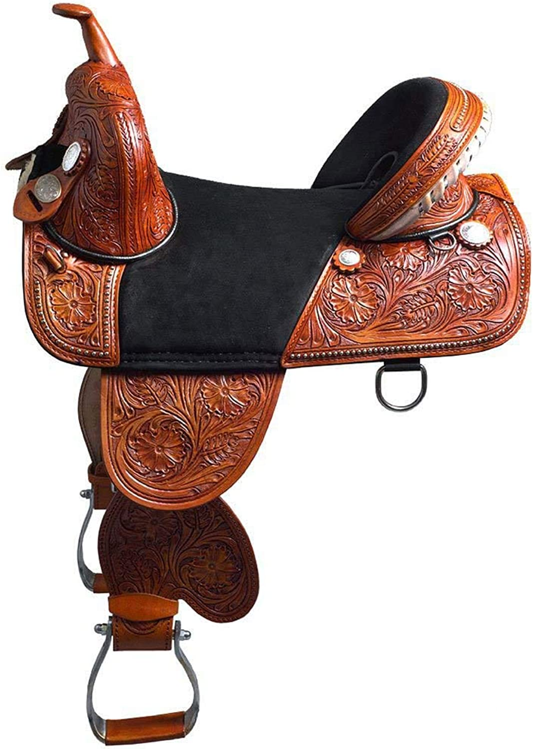 "Manaal Enterprises Adult Western Trail Barrel Racing Premium Leather TREELESS Horse Saddle Tack Size 14  to 18  inch Seat Available (15.5"" Inch Seat)"
