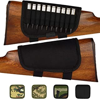 BronzeDog Nylon Adjustable Buttstock Holder for Rifles .30-30 .308 .30-06 Winmag Padded Camo Shell Holder Pouch Bag Right HandedHunting Accessories