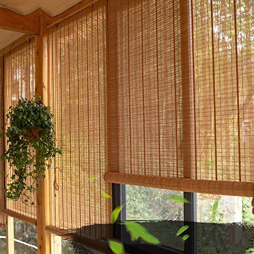 WYAN Persianas enrollables de madera para exteriores, opacos enrollables para patio, cenador, porche, coche, 80/100/120/130/140 cm de ancho, bambú, 80*160CM