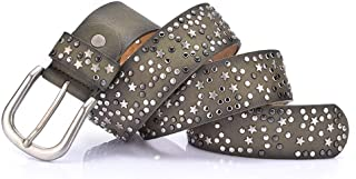 ZYDP Women's Jean Belt, Stars Rivets Punk Rock Handcrafted Genuine Leather Belt with Single Prong Buckle (Color : Green)