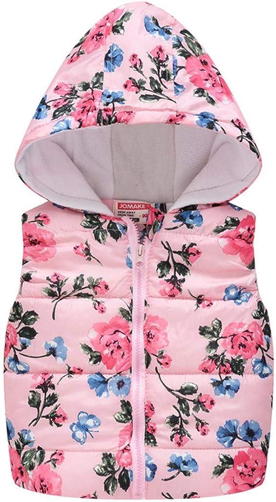 Fall Todlder Girl Print Vest Kids Girl Boys Sleeveless Floral Flowers Hooded Warm Waistcoat Tops