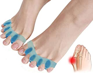 Gel Toe Separators,Toe Stretchers Toe Spacers for Cushioning and Relieve Bunion Pain Rubber Toe Straightener Achilles Stretcher for Men and Women (2 Pairs)
