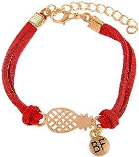 ZMMZYY Bracelet Pierre Pierre Naturelle,Bracelets Multicolore Yoga Rouge avec des Pommes de pin dargent Pendentif Charms pour Femmes Les Filles Ami Cadeaux Bijoux,17cm