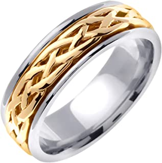 14K Two Tone (White and Yellow) Gold Celtic Infinity Knot Men's Comfort Fit Wedding Band (6.5mm)