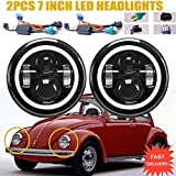 Autofu DOT LED Headlights with Turn Signal Halo Ring Lights For Volkswagen VW Beetle Classic, 7 Inch Round Sealed Beam H5024 H6017 H6024 Conversion Kit High or Low Beam DRL Lamps H4 H13