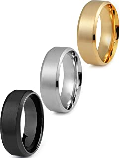 Stainless Steel Rings for Men Wedding Ring Cool Simple Band 8 MM 3 Pcs A Set