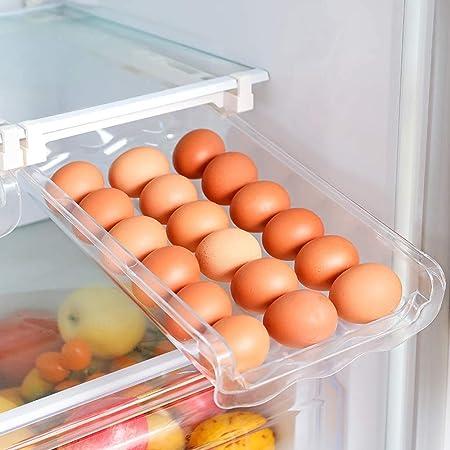 """HOMEREFORM 2 Pack Egg Holder For Refrigerator,Egg Drawer For Refrigerator,Refrigerator Egg Trays,Egg Storage Container,Fridge Organizer,Unique Design Pull Out Bins,Fit For Fridge Shelf Under 0.6"""""""