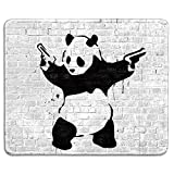 dealzEpic - Art Mousepad - Natural Rubber Mouse Pad with Famous Street Art Panda with Two Guns by Banksy - Stitched Edges - 9.5x7.9 inches