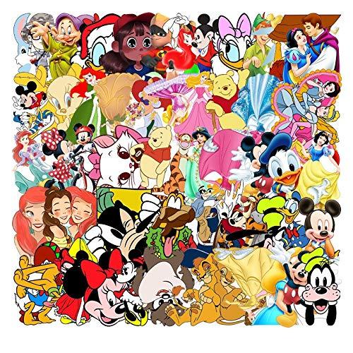JZLMF 56 pegatinas de dibujos animados europeos y americanos, para equipaje, ordenador portátil, taza de agua, decoración para frigorífico, 56 Disney Anime 126
