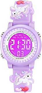 Venhoo Kids Watches for Girls 3D Cartoon Waterproof 7 Color LED Digital Child Wrist Watch Unicorn Gifts for 3 4 5 6 7 8 Year Girl Little Child-Purple
