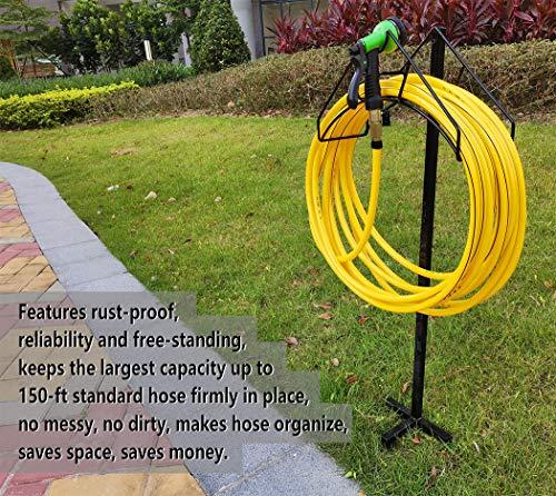 Artigarden Cintre de support de tuyau de jardin autoportant, support de stockage de tuyau d'eau en métal robuste pour pelouse de jardin, noir brillant (tuyau non inclus)