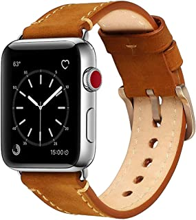 Mkeke Compatible with Apple Watch Band 38mm 40mm Genuine Leather iWatch Bands Vintage Brown