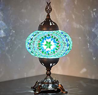 (15 Colors) Battery Operated Mosaic Table Lamp with Built-in LED Bulb, Turkish Moroccan Handmade Mosaic Table Desk Bedside...