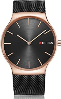 Curren 8256 Men's Sports Waterproof Stainless-Steel Strap Analog Display Wrist Watch - Rose Gold