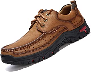 COSIDRAM Men Casual Shoes Sneakers Loafers Breathable Genuine Leather Comfort Walking Shoes Fashion Driving Shoes Luxury Shoes for Male Business Work Office Dress Outdoor Brown Size 10.5