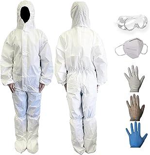 防護服 保護服 セット 使い捨て 作業服 作業着 飛沫 ウイルス対策 上下一体型 ポリプロピレン不織布、塗装、倉庫作業、園芸用, 工場製造品 Msize(170-176)