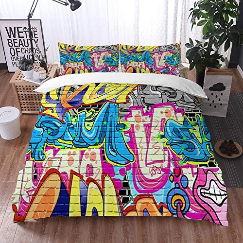 Mingdao bedding - Duvet Cover Set, Creative Street Rustic Graffiti on Wall Urban Street with Spray Hip Hop Art,Microfibre Duvet Cover Set 135 x 200 cmwith 2 Pillowcase 50 X 80cm