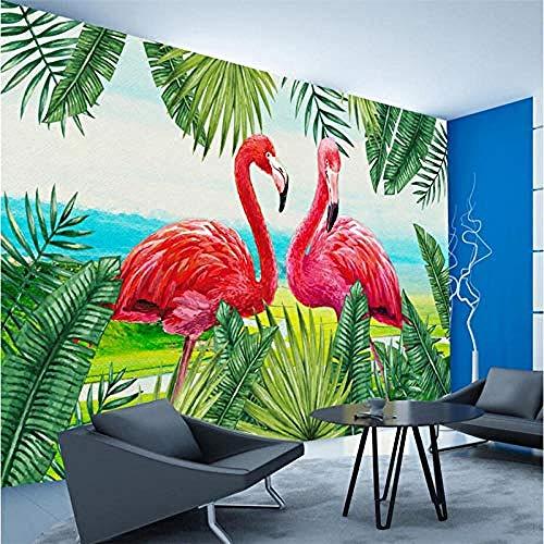 Benutzerdefinierte 3D Tapete Nordic Style Handgemalte Pflanze Flamingo Sofa Schlafzimmer Wohnzimmer TV Hintergrund Tapete wandpapier fototapete 3d effekt tapeten Wohnzimmer Schlafzimmer-400cm×280cm