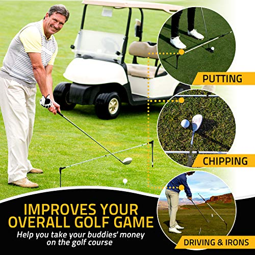 Alignment Pro Golf Training Aids - All-in-One Golf Swing Trainer | Golf Alignment Stick | Putting Aid | Lowers Your Handicap with Straighter Drives and More Consistent Putting and Chipping (Green)
