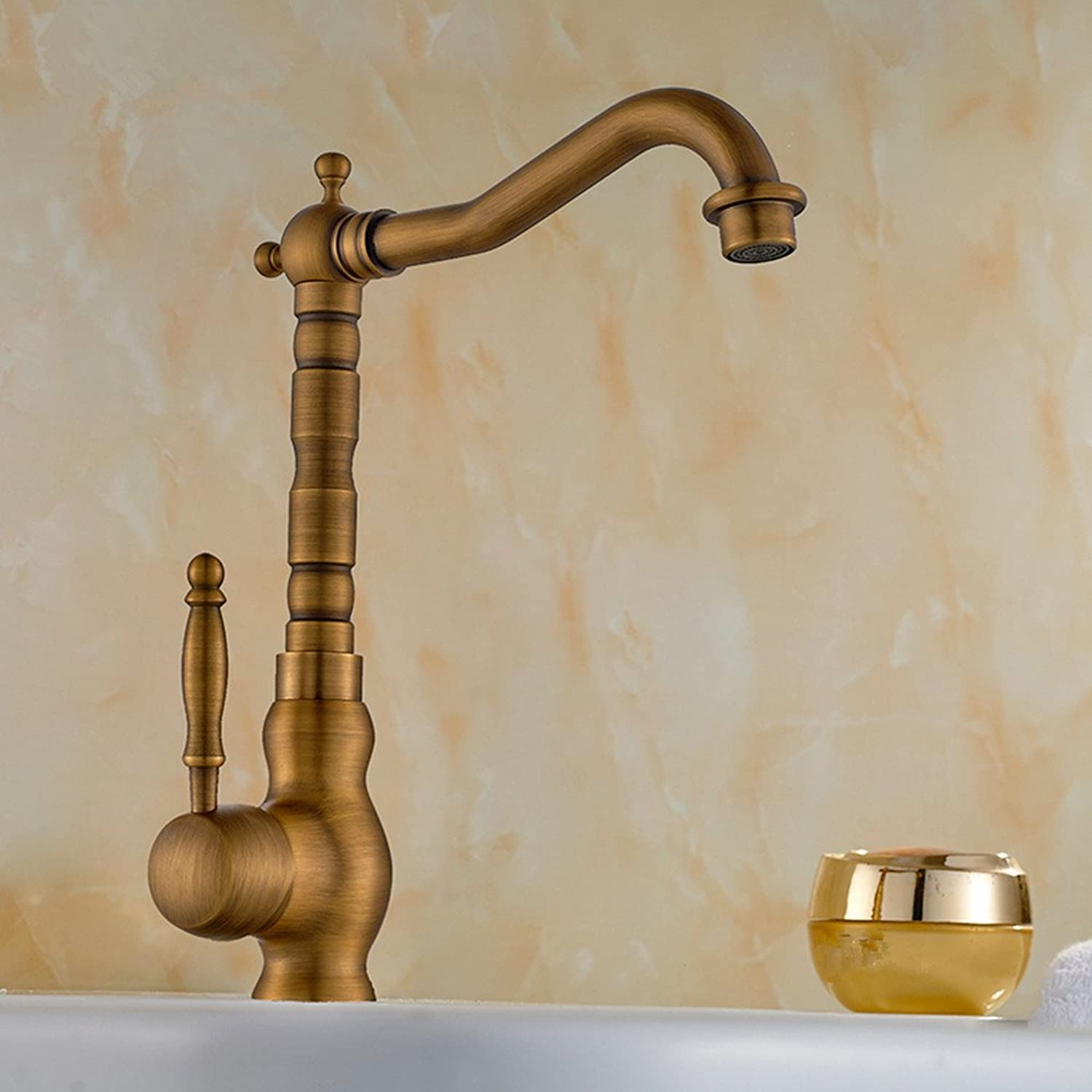 Hlluya Professional Sink Mixer Tap Kitchen Faucet To redate the antique basin faucet antique faucet full copper hot and cold Bathroom Cabinet basin, High