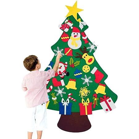 Chensensor Albero di Natale in Feltro 3.28ft della Decorazione per Albero di Natale Ornamenti di Natale con 30PCS Accessori Decorazione della Parete del Portello dei Bambini dei Bambini