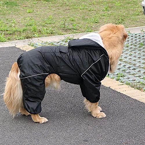 Odkryty duży pies płaszcz przeciwdeszczowy, wodoodporna duże ubrania dla psów, płaszcz żakiet deszczowy, odblaskowy medium duży psa Poncho, oddychająca siatka-black_xxxl