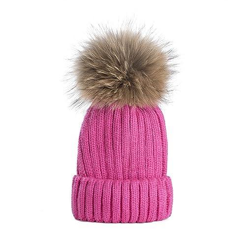 79ca39e31eb2bb Dikoaina Womens Girls Winter Fur Hat Large Faux Fur Pom Pom Beanie Hats