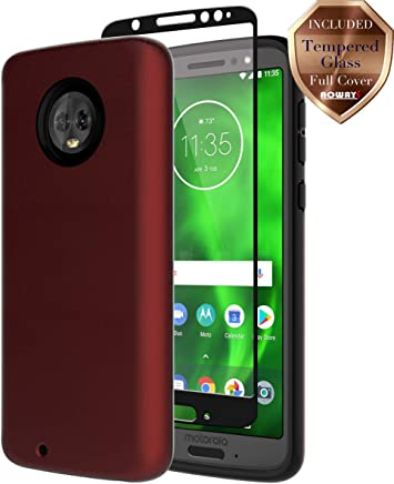 Moto G6 Case, with Aoways Tempered Glass Screen Protector, Anti-Slip Hard Back Cover + Soft TPU Shockproof Inner Protective Case for Motorola Moto G6 Red