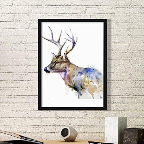 DIYthinker Reindeer Animal Artistiek Effect Kleurrijke Eenvoudige Fotolijst Kunst Prints Schilderijen Thuis Muursticker Gift