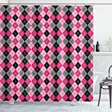 Ambesonne Abstract Shower Curtain, Argyle Motif with Diamonds and Lozenges Infinite Symmetric Stripes Image, Cloth Fabric Bathroom Decor Set with Hooks, 84' Long Extra, Baby Pink