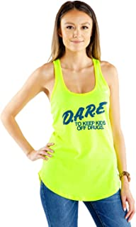 Women's Neon Yellow Dare Shirt - 80's Halloween Costume Shirt Tank Top