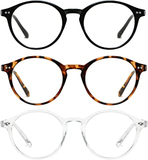 HILBALM 3 Pack Blue Light Blocking Glasses Women and Man Computer Eyeglasses Ashley Metal Frame Glasses (3(Pack) Black Frame/Leopard Frame/Transparent Frame)