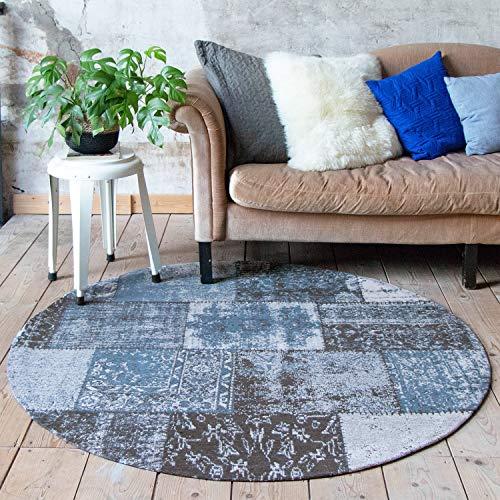 Runder Vintage Patchwork Teppich – Dreams Blau, hellblau, meeresblau, Orientteppich, super weich, pflegeleicht, hoher qualität, rund, runder Teppich, Baumwolle, orientalisch (90cm)