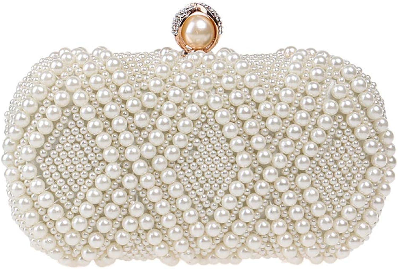 AHIMITSU Tote Damen Clutch Bag Glitter Handgemachte Perle Perlen Kleid Abendtasche Hochzeit Handtasche Party Prom Handtaschen für Frauen (Farbe   Beige, Größe   20  10  6.5cm) B07MQSK2KQ  Niedrige Kosten